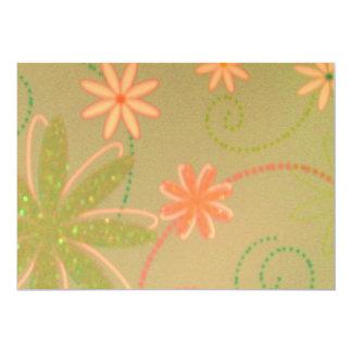 Green/Peach Floral Design Invitation