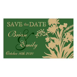Green peach flower save the date business cards