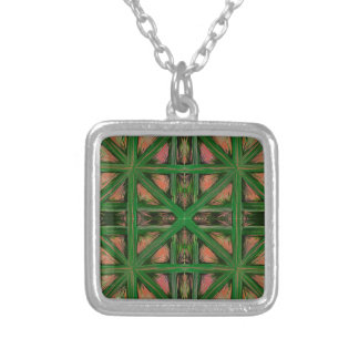 Green Peach Plaid Silver Plated Necklace