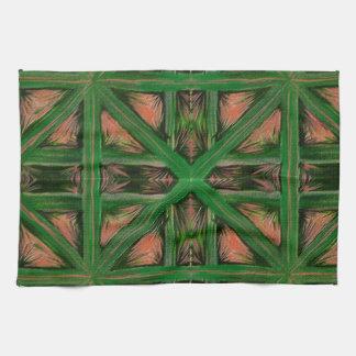 Green Peach Plaid Tea Towel