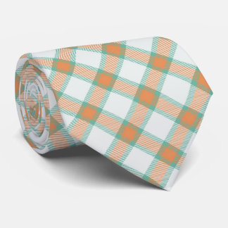 Green Peach Tartan Plaid Tie