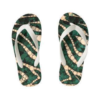 Green Peach Zebra Bling Thongs