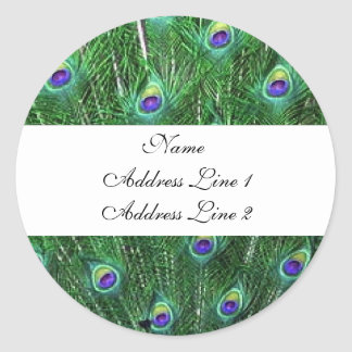 Green Peacock Address Labels Round Stickers