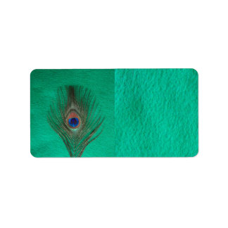 Green Peacock Feather Address Label