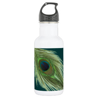 Green Peacock Feather D 532 Ml Water Bottle