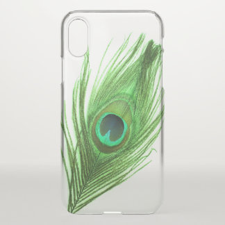 Green Peacock Feather iPhone X Case