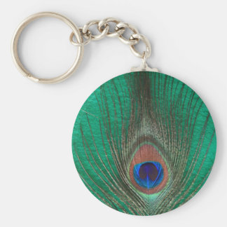 Green Peacock Feather Keychain