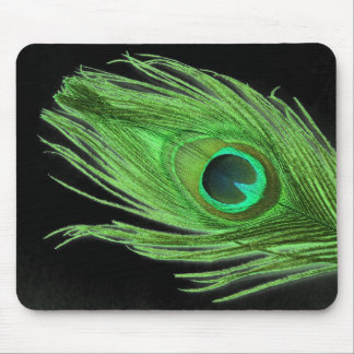 Green Peacock Feather on Black Mouse Pad