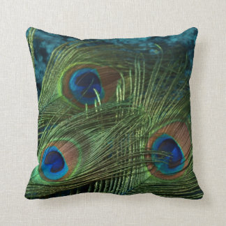 Green Peacock Feather Throw Cushions