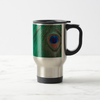 Green Peacock Feather Travel Mug