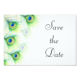 Green Peacock Feathers Wedding Save the Date 9 Cm X 13 Cm Invitation Card