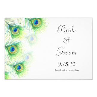 Green Peacock Feathers Wedding Save the Date Personalized Invitation
