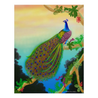 Green Peacock Poster