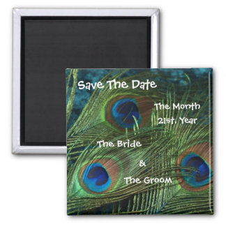 Green Peacock Wedding Save the Date Square Magnet