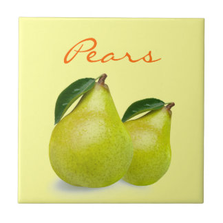 Green Pear Fruit with Leaves Wording on Yellow Ceramic Tile