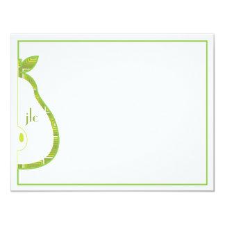 "Green Pear Monogram Flat Note Card 4.25"" X 5.5"" Invitation Card"