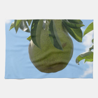 Green pears on tree branches kitchen towel