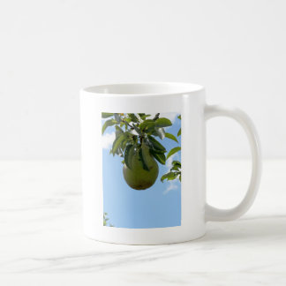 Green pears on tree branches coffee mugs