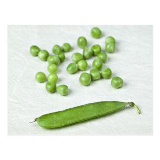 Green peas and husk postcard