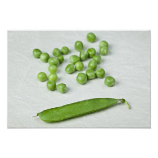 Green peas and husk poster