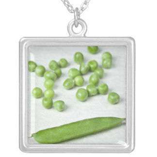 Green peas and husk square pendant necklace
