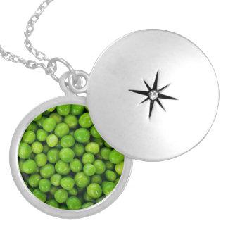 Green Peas Background Round Locket Necklace