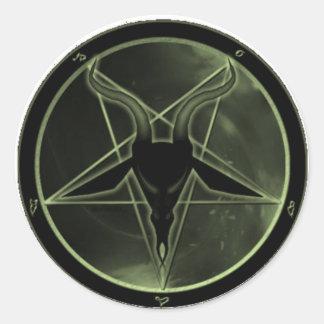 Green Pentagram Round Sticker