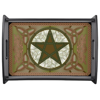 Green Pentagram & Triquatras #3 Serving Tray