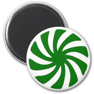 Green Peppermint Candy on round magnet