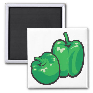 green peppers square magnet
