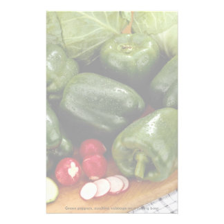 Green peppers, zucchini, cabbage on a cutting boar custom stationery