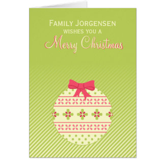 Green Personalised Christmas Ornament Card