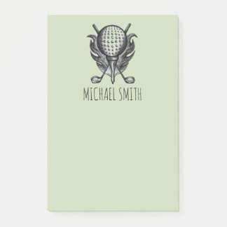 Green Personalized Golf Ball Tee Club Golfer Gift Post-it Notes