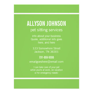 Green Pet Sitting Services Flyer