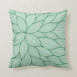 Green Petal Watercolor Pillow