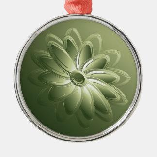 green petals Silver-Colored round decoration