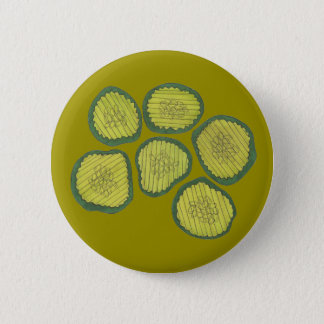 Green Pickle Chips Kosher Sweet Dill Pickle Chip 6 Cm Round Badge