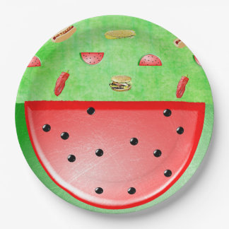Green Picnic Veggies and Burgers Tablecloth Paper Plate