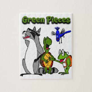 Green Pieces Photo Jigsaw With Gift Box Puzzle