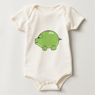 Green Pig Baby Bodysuit