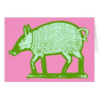 Green Pig Greeting Card: Primitive Folk Art Design Card