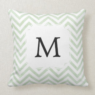 Green pillow personalised with letter
