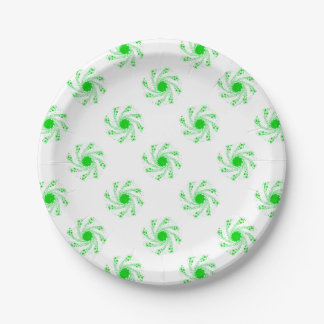 Green Pin Wheel Paper Plate