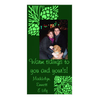 Green Pine Cone Holiday Photo Card