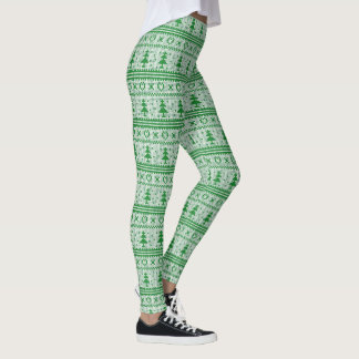 Green Pine Trees and Hearts Cross Stitch Leggings