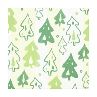 Green Pine Trees Forest Pattern Gallery Wrap Canvas
