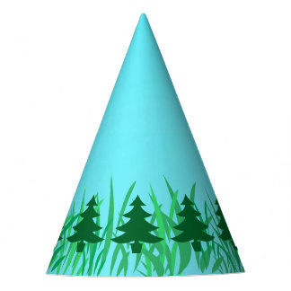 Green Pine Trees on Grass & Blue Sky Illustration Party Hat
