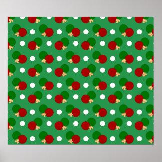 Green ping pong pattern poster