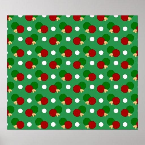 Green ping pong pattern print