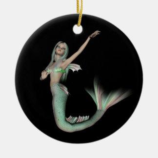 Green & Pink 3D Mermaid 4 Ceramic Ornament